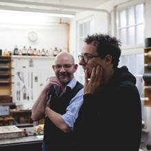 <p>Stefan Marx in der Werkstatt Felix Bauer, Köln ©griffelkunst</p>