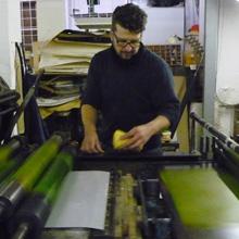 <p>In der Druckwerkstatt von Thomas Franke ©griffelkunst</p>
