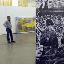 <p>Aufbau der Ausstellung &#8220;Thomas Kilpper – 150 Years of Printmaking&#8221;, 2014 ©griffelkunst</p>