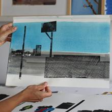<p>Im Atelier von Anja Tchepets ©griffelkunst</p>